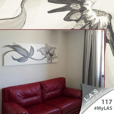 A casa di Stefania | Italia </br> Codice: SI-074-B | Misura: 180x65 cm </br> Colore: bianco-bianco-decoro grigio-incisione tono su tono