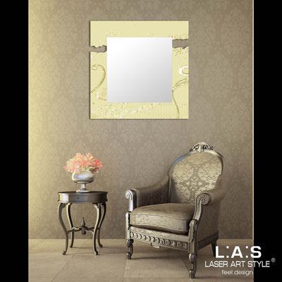 Specchiere </br> Codice: SI-092Q-SP | Misura: 90x90 cm </br>  Colore: sabbia-decoro foglia oro-incisione tono su tono