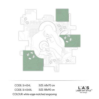 News </br>  Code: SI-434L | Size: 68x70 cm </br>  Code: SI-434XL | Size: 88x90 cm </br> Colour: white-sage-matched egraving