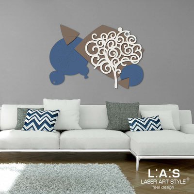 Floral wall sculpture </br> Code: SI-354 | Size: 142x100 cm </br> Colour: denim-dove grey-cream