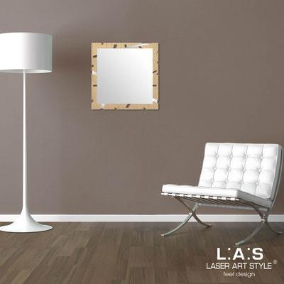 Specchiere </br> Codice: MW-318 | Misura: 60x60 cm </br>  Colore: natural wood-acciaio inox