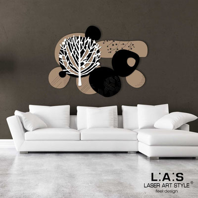 Floral wall sculpture </br> Code: SI-272 | Size: 120x90 cm </br> Colour: hazel-black-white