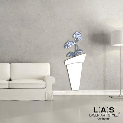 Floral wall sculpture </br> Code: SI-180-B | Size: 52x140 cm </br> Colour: white-bluette decoration-wood engraving