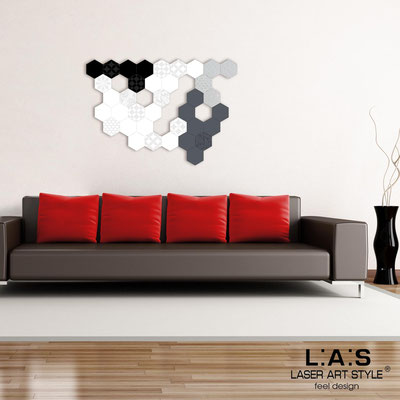 Abstract wall sculptures </br> Code: SI-300 | Size: 125x88 cm </br> Colour: black-white-silver-charcoal grey-matched engraving