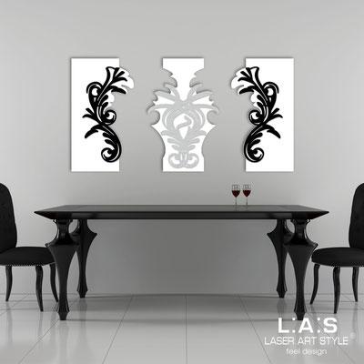 Quadri Astratti </br> Codice: SI-251 | Misura: 150x87 cm </br> Colore: bianco/nero-argento-nero