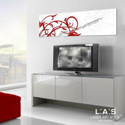 Quadri Astratti </br> Codice: SI-109-B | Misura: 180x58 cm </br> Colore: bianco-decoro rosso-incisione tono su tono