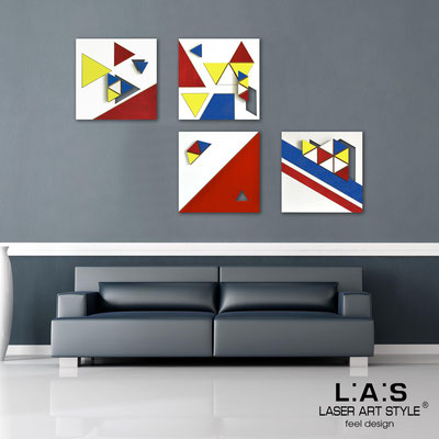 Abstract wall sculptures </br> Code: SI-232 | Size: 4pz 30x30 cm/cad </br> Code: SI-232L | Size: 4pz 60x60 cm/cad </br> Colour: primary colors decoration-wood engraving