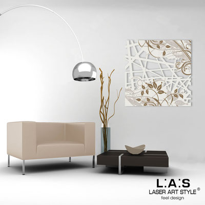 Abstract wall sculptures </br> Code: SI-110Q | Size: 90x90 cm </br> Colour: cream-wood engraving