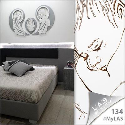 Abitazione privata | Italia </br> Codice: SI-266-SF | Misura: 120x90 cm </br> Colore: argento-bianco-incisione legno