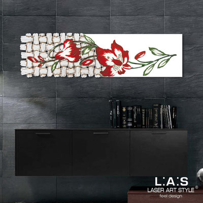 Floral wall sculpture </br> Code: SI-075-B | Size: 148x50 cm </br> Colour: white-red decoration-wood engraving