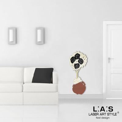 Floral wall sculpture </br> Code: SI-181-C | Size: 56x135 cm </br> Colour: tile-black decoration-wood engraving