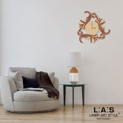 Wall clocks </br> Code: MW-245OR | Size: 60x60 cm </br> Code: MW-245OR-L | Size: 90x90 cm </br> Colour: natural wood-tile-wood engraving