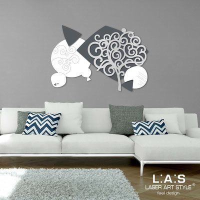 Floral wall sculpture </br> Code: SI-354 | Size: 142x100 cm </br> Colour: white-charcoal grey-silver