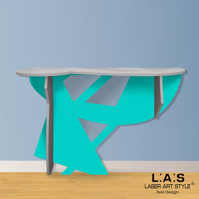 Furnishings </br> Code: SI-382   Size: 120x40 h80 cm </br> Colour: concrete grey-turquoise-wood engraving