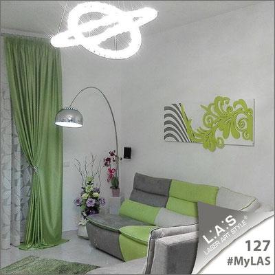 A casa di Salvatore e Dora <br> Abitazione privata   Italia </br> Codice: SI-134   Misura: 150x60 cm <br> Colore: bianco-verde acido-incisione nero