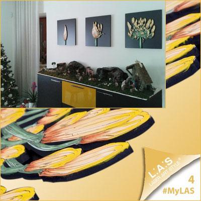 A casa di Matteo e Elisa <br> Abitazione privata | Italia  </br> Codice: SI-101 | Misura: 45x45 cm/cad </br> Colore: nero - decoro fiore arancio