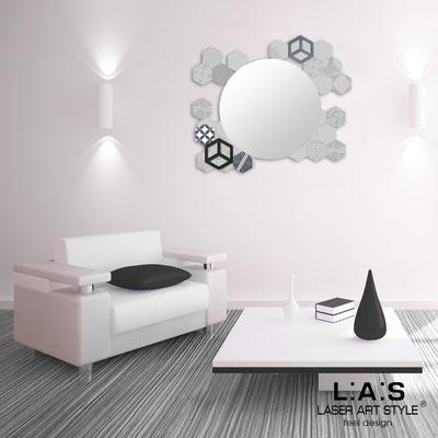 Specchiere </br> Codice: SI-330 | Misura: 90x75 cm </br>  Colore: grigio luce-decoro grigio-incisione tono su tono