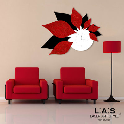 Wall clocks </br> Code: SI-210 | Size: 115x89 cm </br> Colour: white-black-original crystals-red stucco decoration