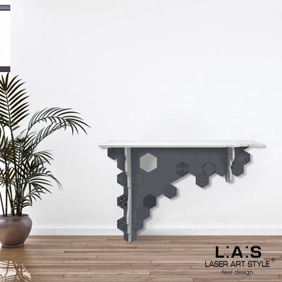 Furnishings </br> Code: SI-314   Size: 120x40 h80 cm </br> Colour: white-charcoal grey-matched engraving