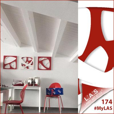 A casa di Rossella <br> Abitazione privata | Italia </br> Codice: SI-146 | Misura: tris 45x45 cm/cad </br> Colore: bianco-rosso