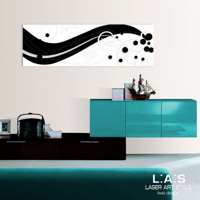 Abstract wall sculptures </br> Code: SI-108-B | Size: 180x58 cm </br> Colour: black-white-wood engraving