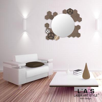 Specchiere </br> Codice: SI-330 | Misura: 90x75 cm </br>  Colore: grigio marrone-decoro marrone-incisione tono su tono