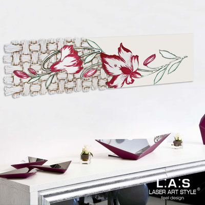 Floral wall sculpture </br> Code: SI-075-B | Size: 148x50 cm </br> Colour: cream-cherry decoration-wood engraving