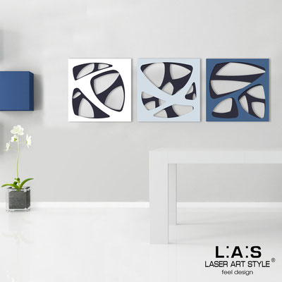 Abstract wall sculptures </br> Code: SI-146 | Size: 3pz 45x45 cm/cad </br> Code: SI-146L | Size: 3pz 60x60 cm/cad </br> Colour: navy blue/white-grey light blue-denim