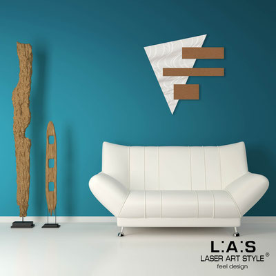 Abstract wall sculptures </br> Code: SI-188 | Size: 65x65 cm </br> Colour: white-bronze-wood engraving