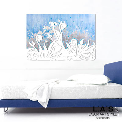 Abstract wall sculptures </br> Code: SI-135 | Size: 150x100 cm </br> Code: SI-135M | Size: 100x67 cm </br> Colour: light blue silver leaf decoration-white