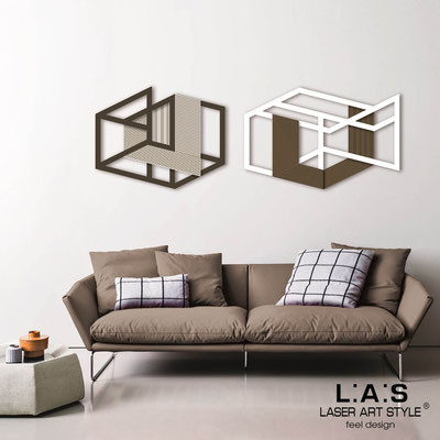 Abstract wall sculptures </br> Code: SI-308 | Size: 2 pz 180x60 cm </br> Colour: brown-white-wood engraving