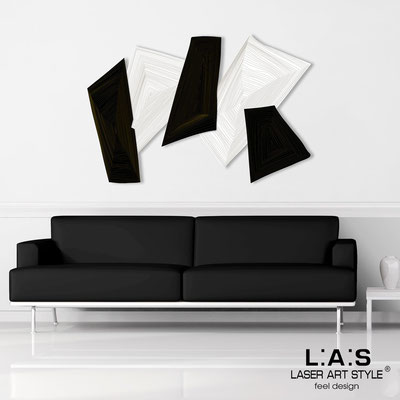 Abstract wall sculptures </br> Code: SI-148 | Size: 150x100 cm </br> Colour: white-black-wood engraving