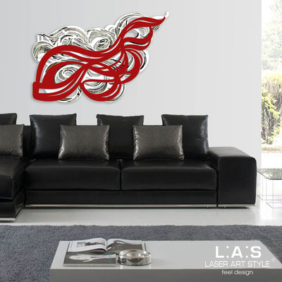 Abstract wall sculptures </br> Code: SI-171 | Size: 150x100 cm </br> Colour: white-red-black engraving