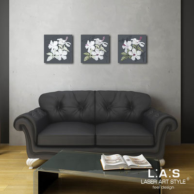 Floral wall sculpture </br> Code: SI-102 | Size: 3pz 45x45 cm/cad </br> Colour: charcoal grey-grey decoration-wood engraving