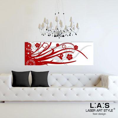 Quadri Astratti </br> Codice: SI-107-B | Misura: 148x50 cm </br> Colore: bianco-rosso