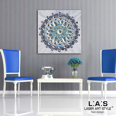 Abstract wall sculptures </br> Code: SI-099 | Size: 90x90 cm </br> Code: SI-099M | Size: 60x60 cm </br> Colour: bluette decoration-wood engraving