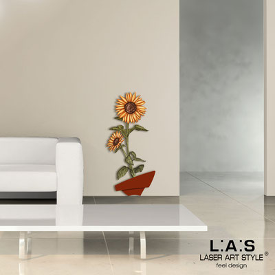 Quadri Floreali </br>  Codice: SI-179-A | Misura: 54x122 cm </br>  Colore: mattone-decoro ruggine-incisione legno