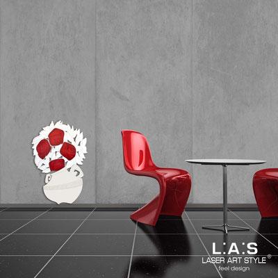 Quadri Floreali </br>  Codice: SI-182-C | Misura: 56x83 cm </br>  Colore: panna-decoro rosso-incisione legno