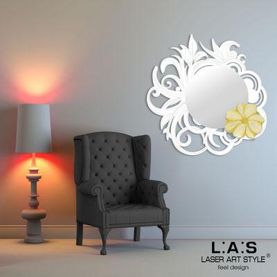 Specchiere </br> Codice: SI-298 | Misura: 95x95 cm </br>  Colore: bianco-decoro dorato-incisione tono su tono