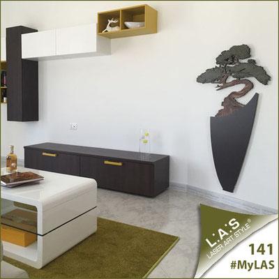 A casa di Mariella e Vito <br> Abitazione privata   Italia </br> Codice: SI-192-F   Misura: 73x135 cm </br> Colore: marrone-decoro verdone-incisione legno