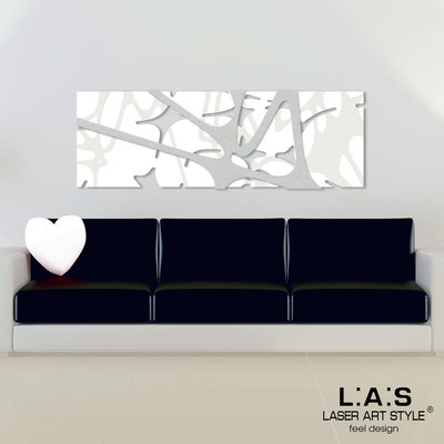 Abstract wall sculptures </br> Code: SI-158 | Size: 150x50 cm </br> Colour: white-silver-wood engraving