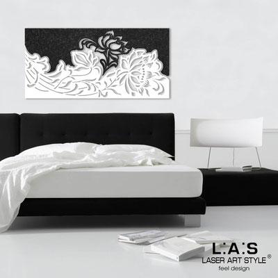 Quadri Floreali </br>  Codice: SI-163   Misura: 180x90 cm </br>  Colore: decoro stucco nero-bianco