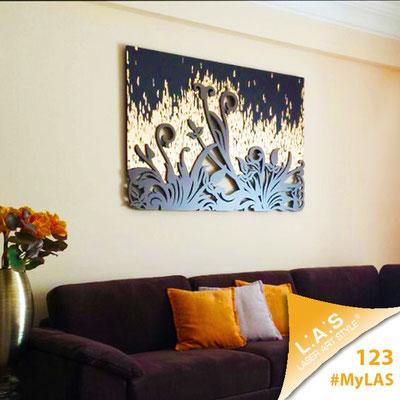 Abitazione privata   Italia </br> Codice: SI-135   Misura: 150x100 cm </br> Colore: decoro foglia oro rame bronzo - grigio marrone
