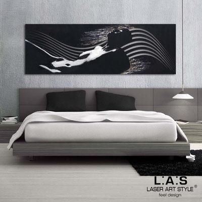 Figurative wall sculpture </br> Code: SI-118 | Size: 180x60 cm </br> Colour: black-golden stucco decoration-cream engraving