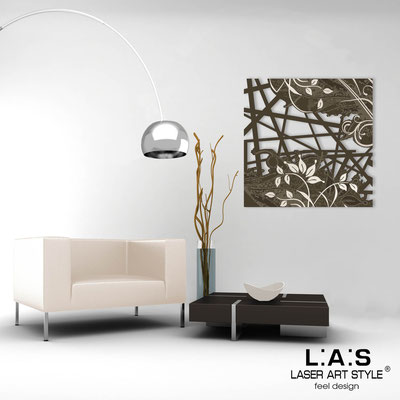 Abstract wall sculptures </br> Code: SI-110Q | Size: 90x90 cm </br> Colour: brown-cream engraving