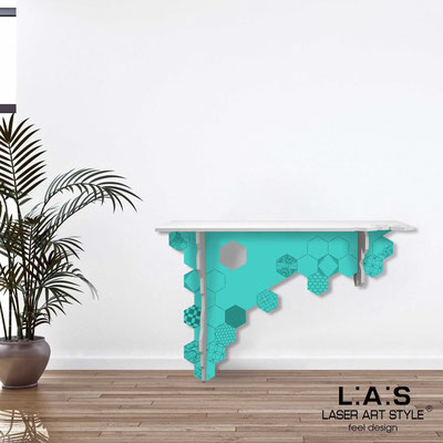 Furnishings </br> Code: SI-314   Size: 120x40 h80 cm </br> Colour: white-turquoise-matched engraving