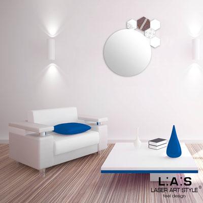 Specchiere </br> Codice: SI-331 | Misura: 60x65 cm </br>  Colore: bianco-decoro bluette-incisione tono su tono