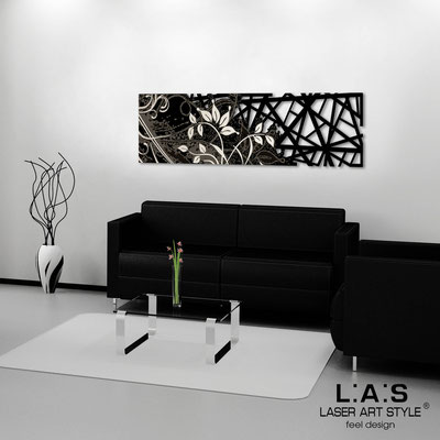 Abstract wall sculptures </br> Code: SI-110-B | Size: 148x50 cm </br> Colour: black-cream engraving