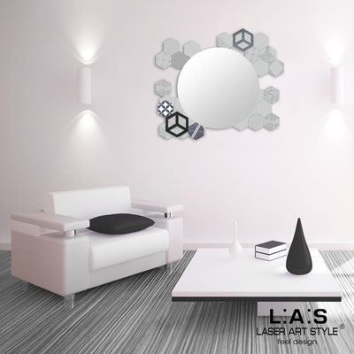 Mirrors </br> Code: SI-330 | Size: 90x75 cm </br>  Colour: light grey-grey decoration-matched engraving