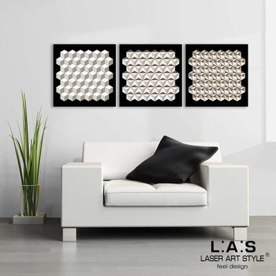 Quadri Astratti </br> Codice: SI-143 | Misura: 3pz 45x45 cm/cad </br> Colore: nero-bianco-incisione legno